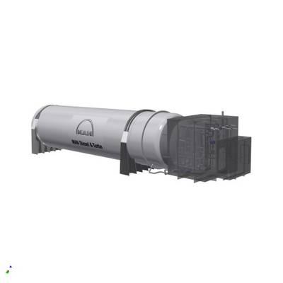 मैन क्रायो 350 एम³ वैक्यूम-इन्सुलेट, बेलनाकार प्रकार सी टैंक और ठंडबॉक्स का प्रतिपादन। (छवि मैन डी एंड टी)