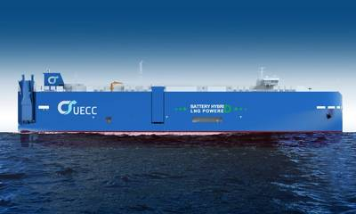 यूईसीसी की तीसरी एलएनजी-पावर्ड शुद्ध कार और ट्रक कैरियर (पीसीटीसी), इसके अलावा, बोर्ड पर हाइब्रिड-बैटरी प्रोपल्शन तकनीक होगी। जहाज को कंपनी के अटलांटिक लघु-समुद्री समुद्री व्यापार मार्गों पर नियोजित किया जाएगा। (छवि: यूईसीसी)