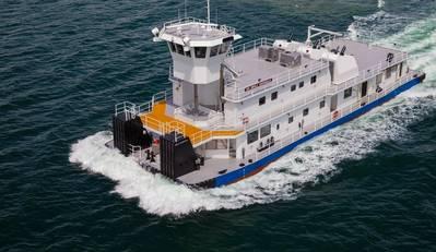 समुद्री समाचार '2017' ग्रेट वर्कबोट्स विजेताओं में से एक, आईडब्लूएल नदी के लिए पूर्वी शिप बिल्डिंग समूह द्वारा निर्मित एक अंतर्देशीय नदी टॉबोट (छवि: पूर्वी शिप बिल्डिंग समूह)
