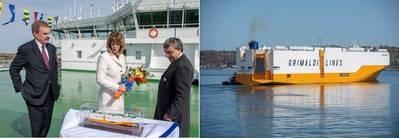 左起,安迪雅培ACL,凯伦奥德菲尔德和科斯坦蒂诺Baldissara的首席执行官。照片:Hafen Hamburg营销