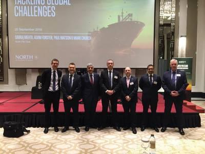 昨天在迪拜泰姬迪拜举行的海洋保险公司North P&I俱乐部举办的研讨会的头条新闻是对伊朗的新贸易制裁以及2020年整个海事部门的新燃料规则。照片:North P&I Club。