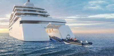 新しいバイキング船のレンダリング:このレンダリングは、新しいバイキング遠征船がどのように見えるかを示しています。小さな船を発射するための格納庫も含まれます。クレジット:Viking