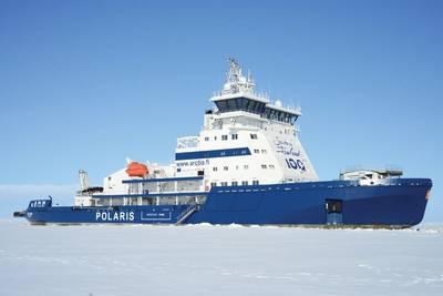 En 2016, el rompehielos finlandés más reciente, Ib Polaris, se construyó a un costo de 125 millones de euros. Arctia Ltd. recibió un rompehielos de clase PC4 de doble acción alimentado con GNL capaz de penetrar un nivel de hielo de 1.8m con una velocidad de 3.5 nudos. Foto: Tuomas Romu y Arctia Ltd.