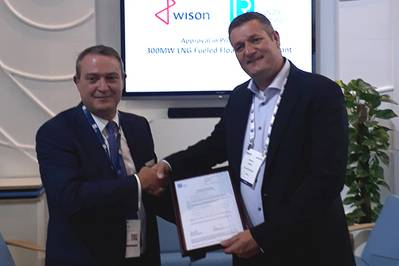 LR Barrow,LR商业总监 -  Marine&Offshore将于本周在巴塞罗那向Gastech的Wison解决方案总监Maarten Spilker介绍AiP。 (照片:劳埃德船级社)