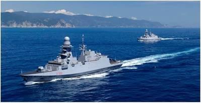Buque de diseño de referencia Fincantieri FREMM-FFG. Seis de los 10 buques FREMM que Fincantieri está construyendo para la Marina italiana están en servicio. (Imagen: Fincantieri)
