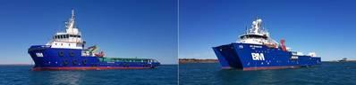 CMV Athos(左)是65米,ABS Classed,多用途锚泊处理拖船供应(AHTS)/近海支援船(OSV)。 DP2 SeaMaster是一艘40M多用途ROV,测量,施工和潜水支持船。照片:Bhagwan Marine