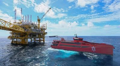 Damen FCS 7011 CMM在石油钻井平台(照片:Damen Shipyards)