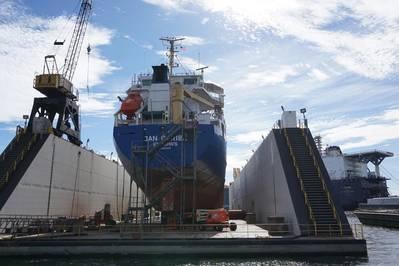 Detyens शिपयार्ड एक शुद्ध जहाज मरम्मत यार्ड सरकार (50%) और वाणिज्यिक काम के लिए खानपान है, बाद में घरेलू और विदेशी मालिकों के बीच समान रूप से विभाजित है। (फोटो: एरिक हुन)