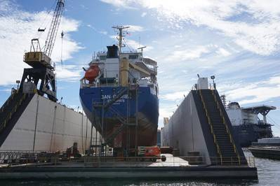 Detyens Shipyards是一个纯粹的船舶修理场,迎合政府(50%)和商业工作,后者在国内和国外业主之间平均分配。 (照片:Eric Haun)