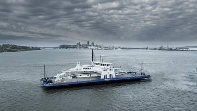 Die für den kanadischen Betreiber Société des traversiers du Québec (STQ) gebaute Fähre MV Armand-Imbeau II wird mit LNG-Treibstoff betrieben. (Bild: Davie Werften)