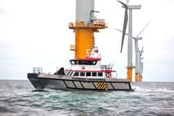 Ein Offshore-Service-Schiff im Offshore-Bereich (CREDIT: Blount)
