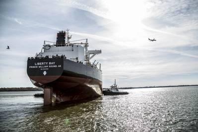 File-Bild: Ein US-Flaggentanker kurz nach seinem Start circa 2013 bei Akers Philly-Werft. (KREDIT Aker)