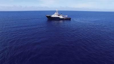 El R / V Petrel, propiedad del cofundador y filántropo de Microsoft Paul G. Allen, en el mar en busca del USS Indianapolis. (Foto cortesía de Paul G. Allen)