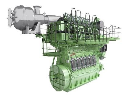Rendering des SCR-HP-Reaktors mit einem Host-Zweitaktmotor (Foto: MAN Energy Solutions)