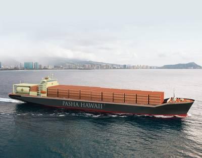 Rendering des neuen Pasha Hawaii Containerschiffes (Bild mit freundlicher Genehmigung von Pasha Hawaii)