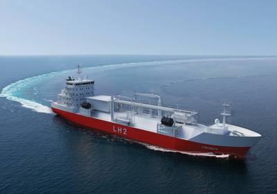 Renderings eines Massengutfrachters für den Transport von verflüssigtem Wasserstoff von Moss Maritime, Wilhelmsen Ship Management, Equinor und DNV-GL. Bildnachweis: Moss Maritime.