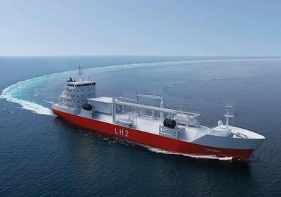 Representaciones de un granelero para el transporte de hidrógeno licuado por Moss Maritime, Wilhelmsen Ship Management, Equinor y DNV-GL. Crédito de la foto: Moss Maritime.