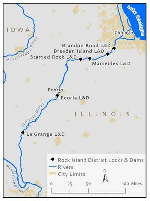 Rock Island District sperrt Staudämme / CREDIT USACE