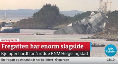 Sinking Fregatte (Screenshot der NRK-Streaming-Berichterstattung unter https://www.nrk.no/. NRK ist das staatliche Radio- und Fernsehunternehmen des norwegischen Rundfunks).