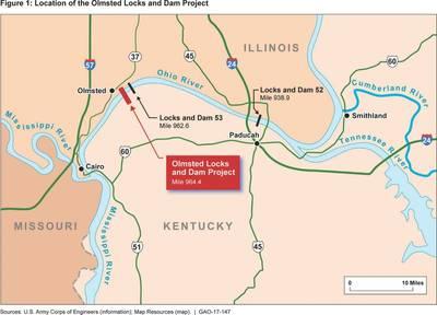 Una representación de USACE de la infraestructura del área de bloqueo de Olmsted (Crédito: US GAO)