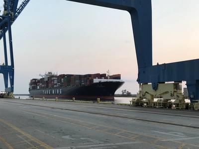 YM Uniformity抵达威尔明顿港(CREDIT NC Ports)
