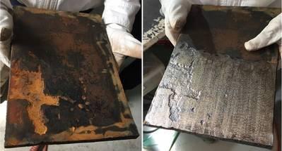 El efecto de CoolLaser sobre el acero en cubierta. Antes (izquierda) y después. Foto: NYK