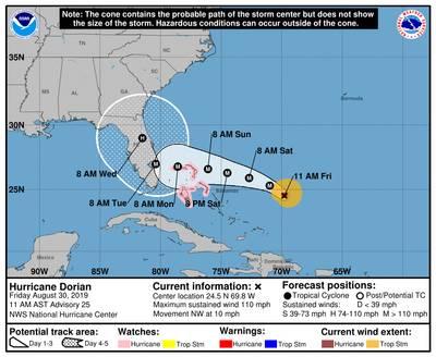 A situação do NOAA National Hurricane Center Storm Cone às 1100 horas locais em 30 de agosto de 2019.