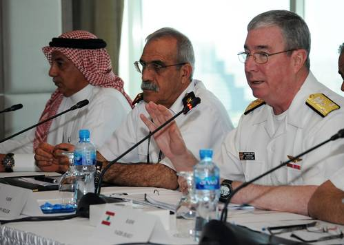 MANAMA, BAHRAIN (May 15, 2013) Vice Adm. John Miller, right, responds to a question during the senior leadership panel portion of the Maritime Infrastructure Protection Symposium. The symposium focuses on protecting the points of origin and destinations of shipping. (U.S. Navy photo by Mass Communication Specialist 1st Class Matthew R. White)
