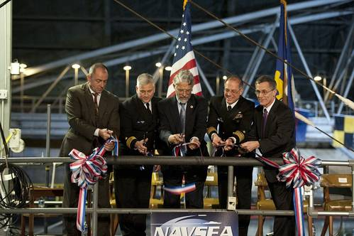 (L-R) NSWC, Carderock Division Naval Architecture & Engineering Department Head, Jon Etxegoien; NSWC, Rear Adm. Lawrence Creevy; keynote speaker, Dr. John Holdren, Assistant to the President for Science and Technology, Director of the White House Office of Science and Technology Policy and Co-Chair of PCAST; NSWC, Carderock Division Commander Capt. Richard Blank; and NSWC, Carderock Division Technical Director Dr. Joseph Arcano