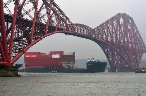 A section of HMS Prince of Wales hull in transit to Rosyth (Photo courtesy of BAE Systems)