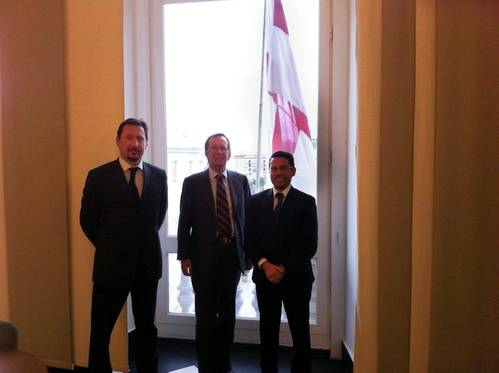 from left to right: Alberto Delle Piane (Managing Director), Giovanni Delle Piane (President), Andrea Trevisan (Damen Regional Sales Manager)