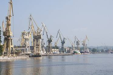 A part of the massive Szczecin Shipyard facility in Poland.