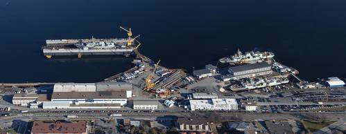 Irving Shipbuilding's primary facility, Halifax Shipyard, with three Canadian Halifax-Class frigates in for service.