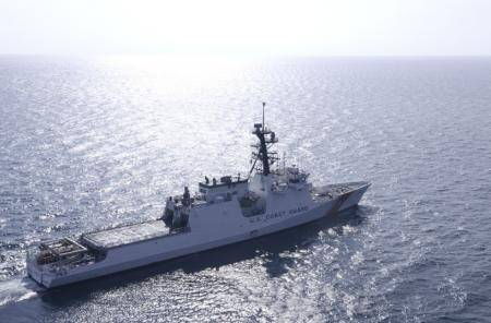 U.S. Coast Cutter Hamilton performs sea trials in the Gulf of Mexico Aug. 13, 2014. (U.S. Coast Guard photo by Carlos Vega)