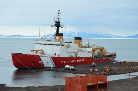 Coast Guard Cutter Polar Star moored at the ice pier in McMurdo, Antarctica Jan. 24, 2014. (U.S. Coast Guard photo by Paul Garcia)