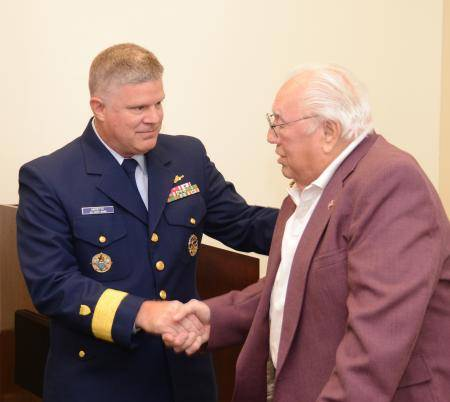 Rear Adm. Fred Midgette (left) with World War II Merchant Marine veteran Phillip Sustersic. U.S. Coast Guard photo by Petty Officer 3rd Class Christopher M. Yaw