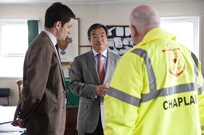 IMO Secretary–General Mr. Koji Sekimizu with Tilbury port chaplain Deacon Paul Glock and AoS National Director Martin Foley in Tilbury Seafarers' Center (Photo: Apostleship of the Sea)