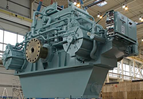 Fig. 1: For the world's largest ferry boat which was put into operation in 2012, Siemens built two twin-engine propulsion gearboxes which together deliver 57,600 MW of motor-power to the adjustable propellers.  (Source: Siemens)