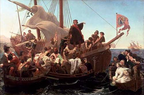 Christopher Columbus on Santa Maria in 1492. EMANUEL LEUTZE - 1855