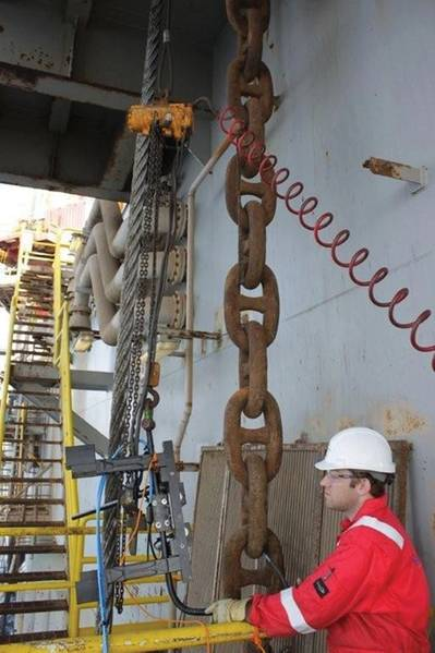 Engineers measure chain.