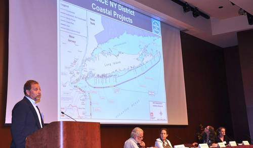 Peter Weppler, chief, Environmental Analysis Branch, U.S. Army Corps of Engineers, New York District, presents an overview of nearly 60 coastal storm risk management projects along the New York and New Jersey coast during a presentation at an environmental conference. (Photo: James D'Ambrosio, New York District Public Affairs.)