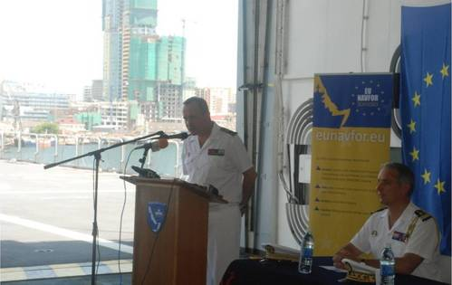 Operation Atalanta Force Commander, Rear Admiral Hervé Bléjean opening a press conference on board FS Siroco in Tanzania. (EU NAVFOR photo)