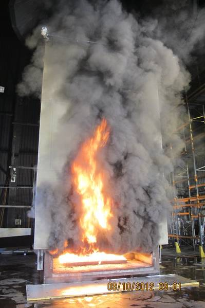 Full scale tests of fire spread on external FRP composite surfaces based on SP FIRE 105 (carried out as part of the FP7 EU project BESST). Photo: Glenn Appel