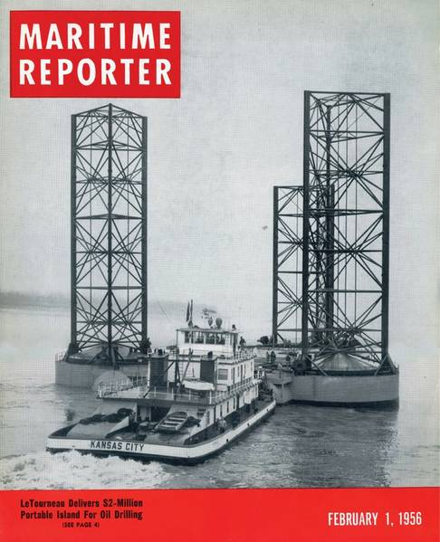 "The formal birth of the offshore industry is generally said to be the Kermac 16, universally recognized as the first ""out-of-sight-of land"" well, built 10 miles offshore by Brown & Root for Kerr-McGee, Phillips Petroleum and Stanolind Oil & Gas, in 1947.   As the hunt for energy offshore continued to flourish  and grow, Maritime Reporter was there too, covering  LeTourneau's $2m ""Portable Island""  in the February 1, 1956 edition."