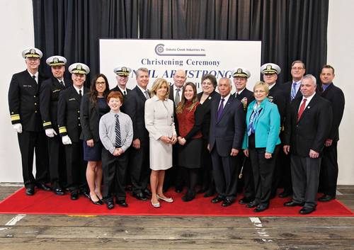 Portrait of the dignitaries assembled for the christening of the R/V Neil Armstrong.  Guests from the US Navy, NOAA, NASA, Woods Hole, Dakota Creek Industries and Guido Perla Associates were on the dais along with members of the Armstrong family.(Courtesy of  Karla DeCamp, Dakota Creek Industries)
