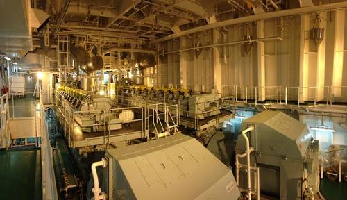 Panorama of the engine room aboard the Velikiy Novgorod featuring a diesel-electric, dual-fuel propulsion system consisting of 2 × MAN 8L51/60DF and 2 × MAN 9L51/60DF engines