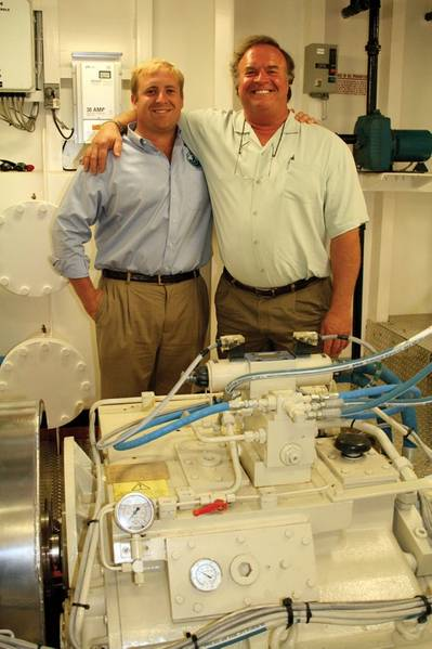 Another ubiquitous sight in the Gulf Region: Karl Senner Inc. supplying propulsion products. Pictured (right) are Ralph Senner (R) and his son Karl.