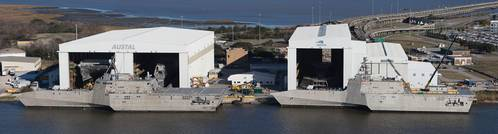 The Austal USA facility in Mobile, Alabama, is a state-of-the-art ship production facility, sporting a new dual line Module Manufacturing Facility (not pictured) which is as close to assembly line production as you can get in the maritime industry.