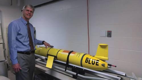 "Dean Steven Lohrenz explaining the use of the SMAST's Slocum Glider ""Blue."""