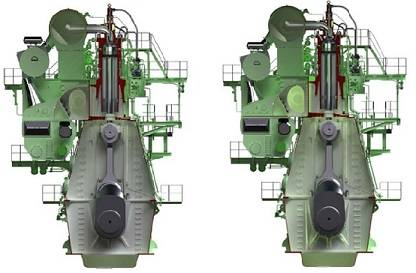Graphical rendering of the G95ME-C9.2 engine (left) and S90ME-C10.2 engine (right)
